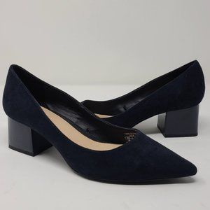 ZARA TRF Navy Blue Suede Heels Women's Shoes 7226